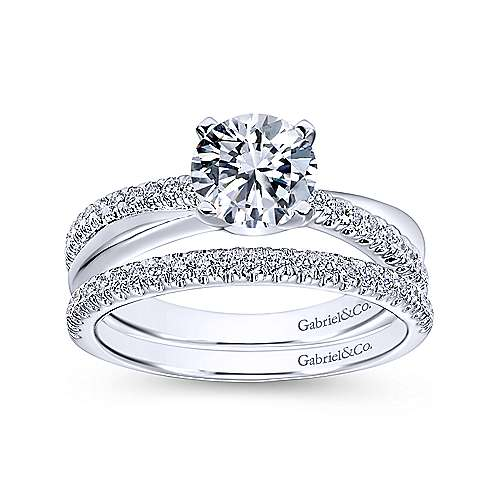 14k White Gold Pave Criss Cross Round Diamond Engagement Ring angle 4