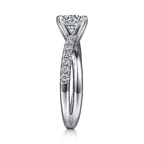 14k White Gold Pave Criss Cross Round Diamond Engagement Ring angle 5