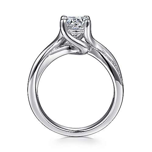 14k White Gold Pave Diamond Bypass Engagement Ring angle 2