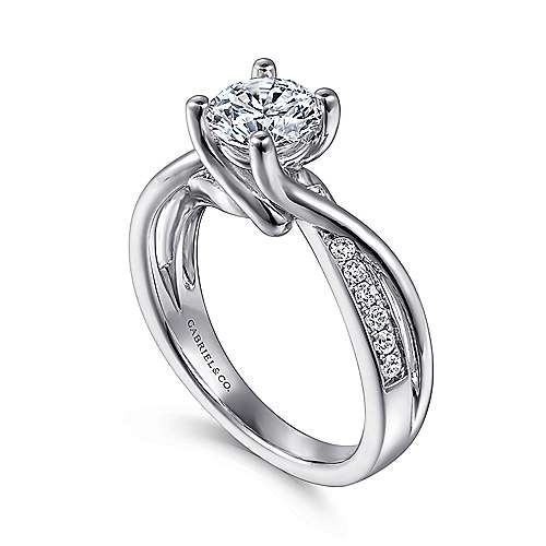 14k White Gold Pave Diamond Bypass Engagement Ring angle 3