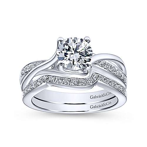 14k White Gold Pave Diamond Bypass Engagement Ring angle 4