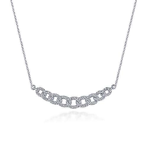 14k White Gold Pave Diamond Chain Choker Necklace
