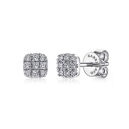 14k White Gold Pave Diamond Cushion Cut Stud Earrings