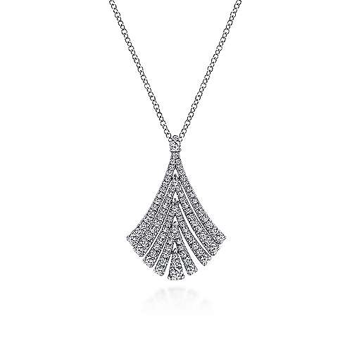 Gabriel - 14k White Gold Pave Diamond Fan Necklace