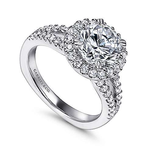 14k White Gold Pave Diamond Halo Engagement Ring with European Split Shank angle 3