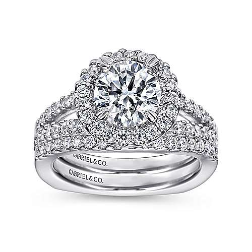 14k White Gold Pave Diamond Halo Engagement Ring with European Split Shank angle 4
