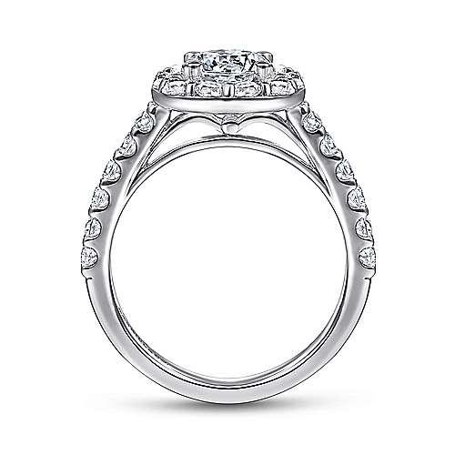 14k White Gold Pave Diamond Halo Engagement Ring angle 2