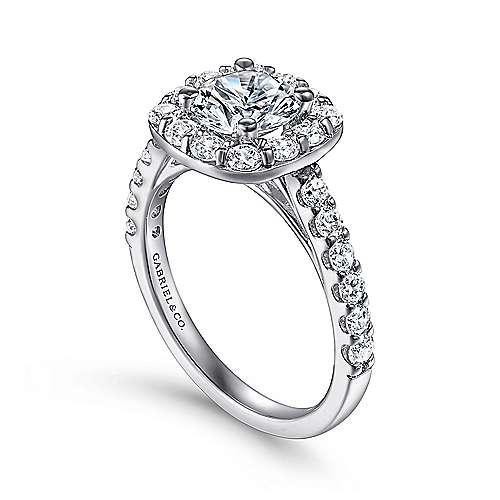 14k White Gold Pave Diamond Halo Engagement Ring angle 3
