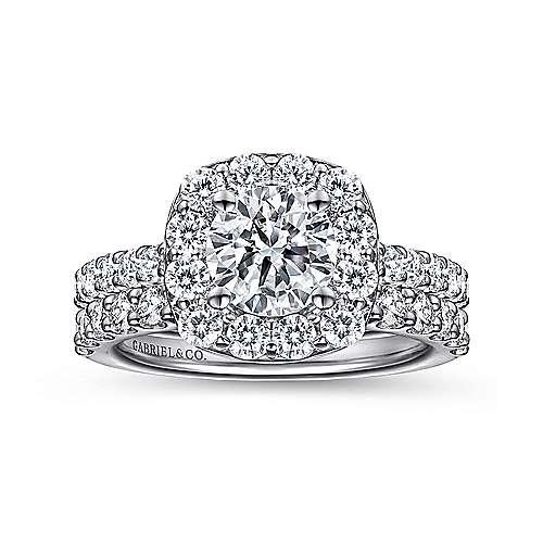 14k White Gold Pave Diamond Halo Engagement Ring angle 4