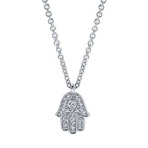14k White Gold Pave Diamond Hamsa Necklace