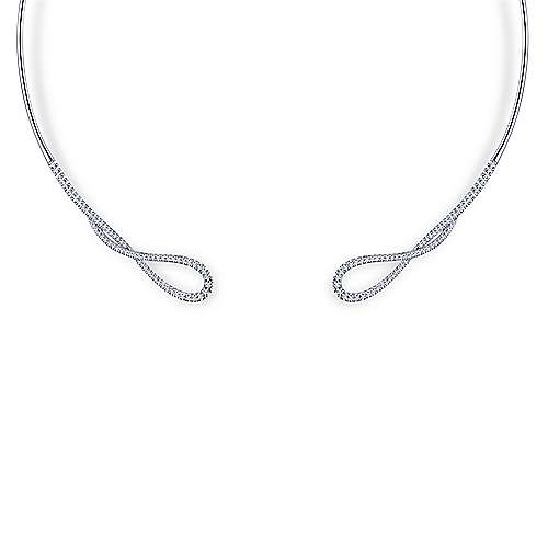 14k White Gold Pave Diamond Loop Choker Necklace
