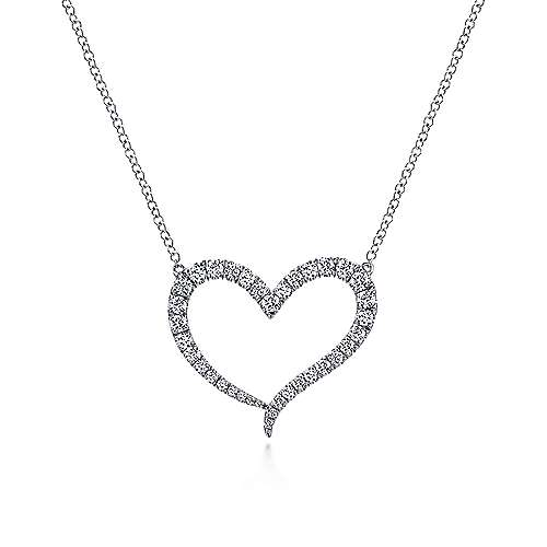 14k White Gold Pave Diamond Open Heart Shaped Necklace