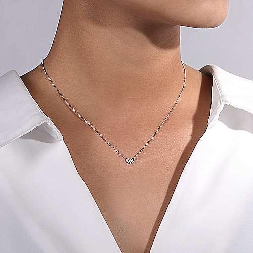 14k White Gold Pave Diamond Pendant Heart Necklace