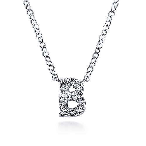 14k White Gold Pave Diamond Uppercase B Initial Necklace
