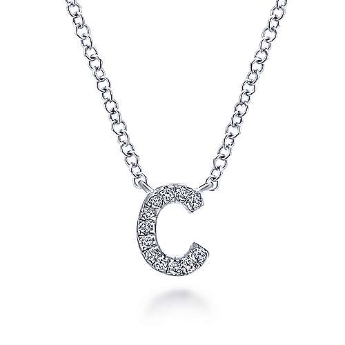 Gabriel - 14k White Gold Pave Diamond Uppercase C Initial Necklace