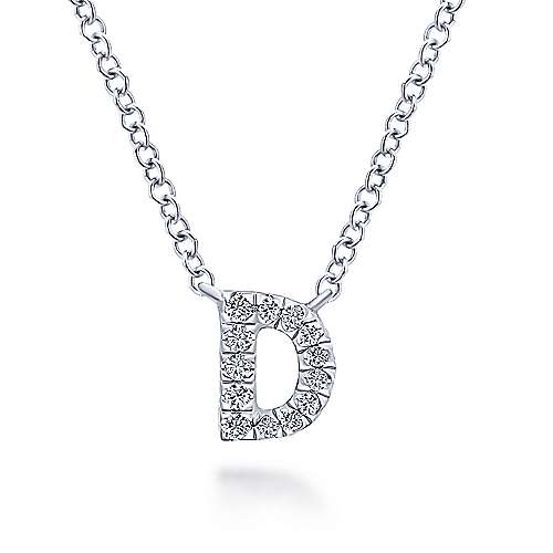 14k White Gold Pave Diamond Uppercase D Initial Necklace