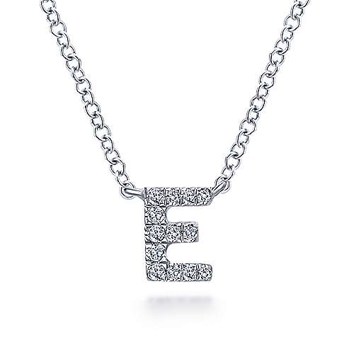 14k White Gold Pave Diamond Uppercase E Initial Necklace
