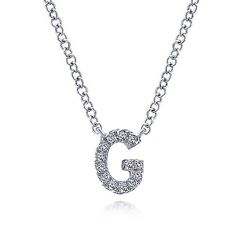 Gabriel - 14k White Gold Pave Diamond Uppercase G Initial Necklace