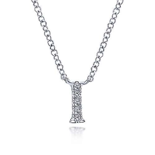 Gabriel - 14k White Gold Pave Diamond Uppercase I Initial Necklace