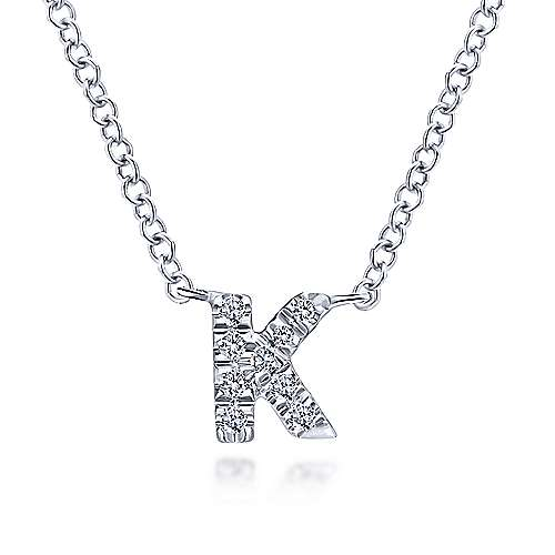 Gabriel - 14k White Gold Pave Diamond Uppercase K Initial Necklace