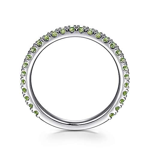 14k White Gold Pave Peridot Stackable Ladies Ring angle 2