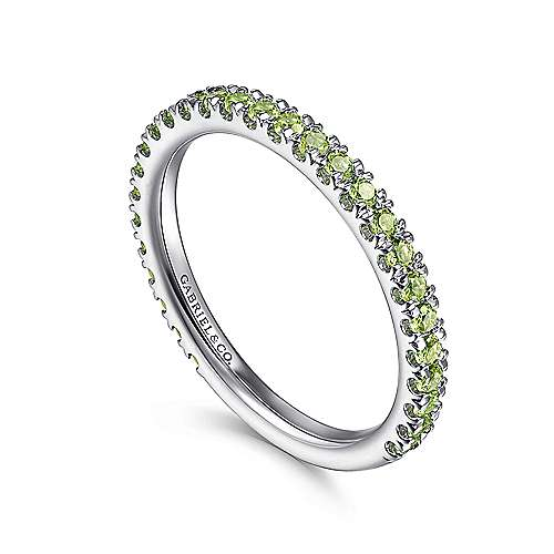 14k White Gold Pave Peridot Stackable Ladies Ring angle 3