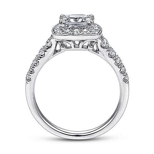 14k White Gold Pave Shank and Princess Cut Diamond Halo Engagement Ring angle 2