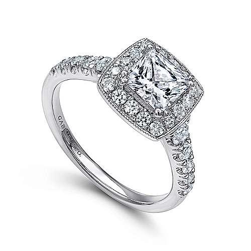 14k White Gold Pave Shank and Princess Cut Diamond Halo Engagement Ring angle 3