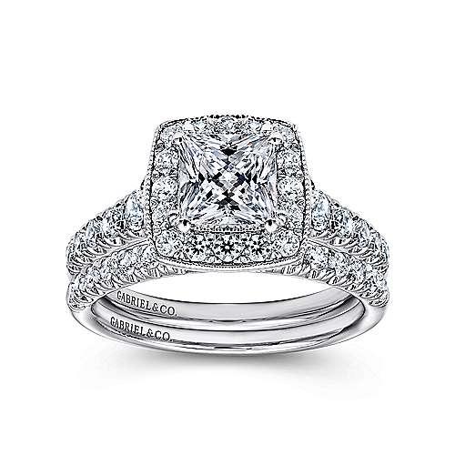 14k White Gold Pave Shank and Princess Cut Diamond Halo Engagement Ring angle 4