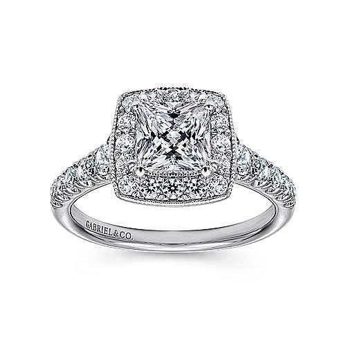 14k White Gold Pave Shank and Princess Cut Diamond Halo Engagement Ring angle 5