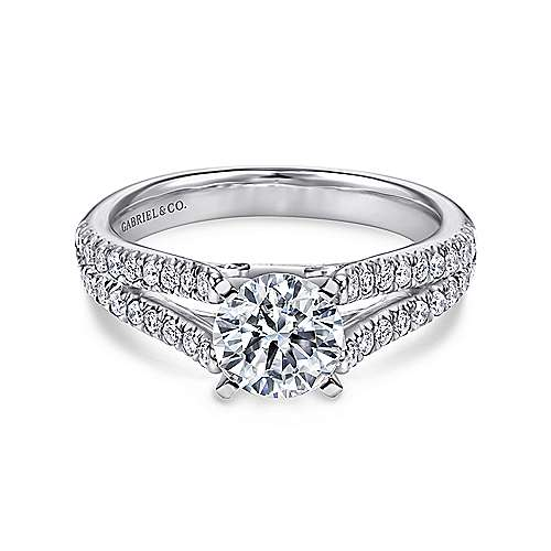14k White Gold Pave Split Shank Diamond Engagement Ring with Round Center angle 1