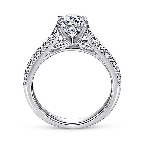 14k White Gold Pave Split Shank Diamond Engagement Ring with Round Center angle 2