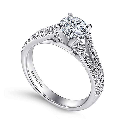 14k White Gold Pave Split Shank Diamond Engagement Ring with Round Center angle 3