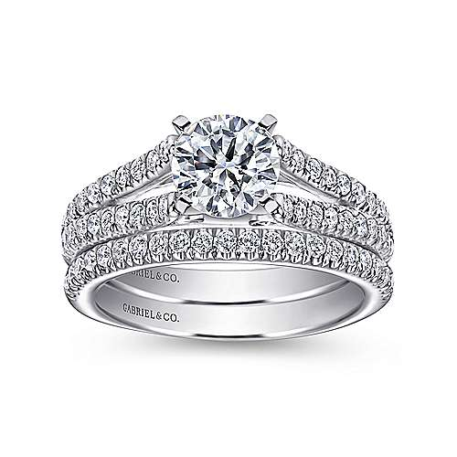 14k White Gold Pave Split Shank Diamond Engagement Ring with Round Center angle 4