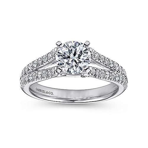 14k White Gold Pave Split Shank Diamond Engagement Ring with Round Center angle 5