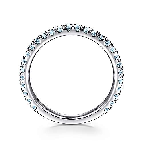 14k White Gold Pave Swiss Blue Topaz Stackable Ladies Ring angle 2