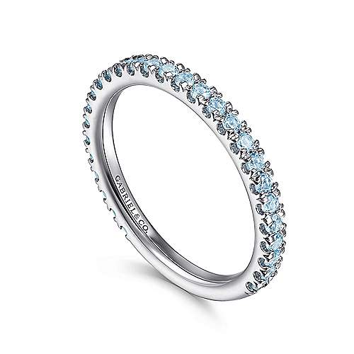 14k White Gold Pave Swiss Blue Topaz Stackable Ladies Ring angle 3