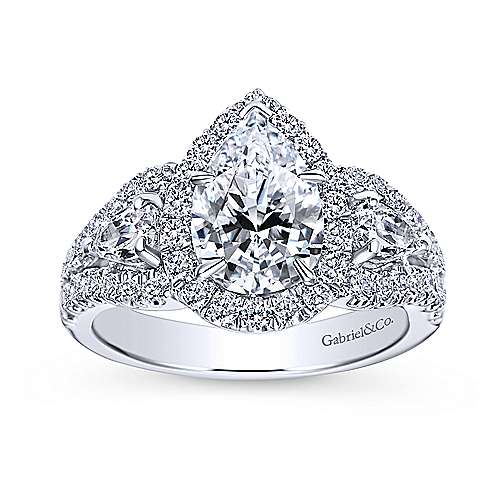 14k White Gold Pear Shape 3 Stones Halo Engagement Ring angle 5