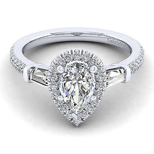 Gabriel - 14k White Gold Pear Shape 3 Stones Halo Engagement Ring