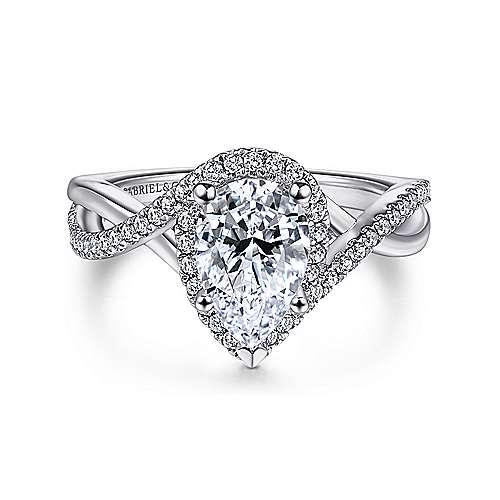Gabriel - 14k White Gold Pear Shape Criss Cross Engagement Ring