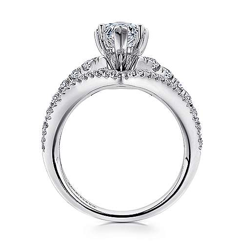14k White Gold Pear Shape Curved Engagement Ring angle 2