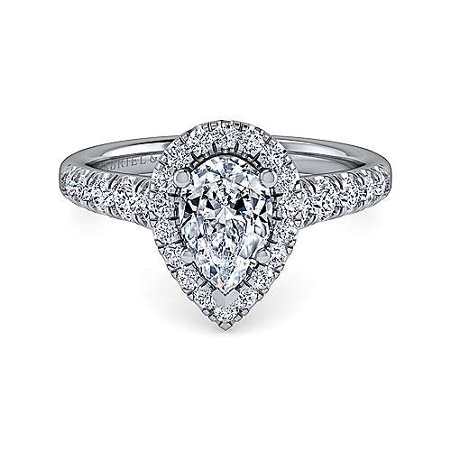 Gabriel - 14k White Gold Pear Shape Halo Engagement Ring