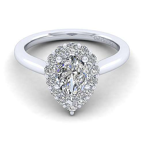 Gabriel - 14k White Gold Pear Shape Halo Engagement Ring