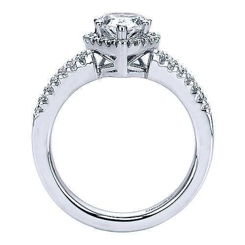 14k White Gold Pear Shape Halo Engagement Ring angle 2
