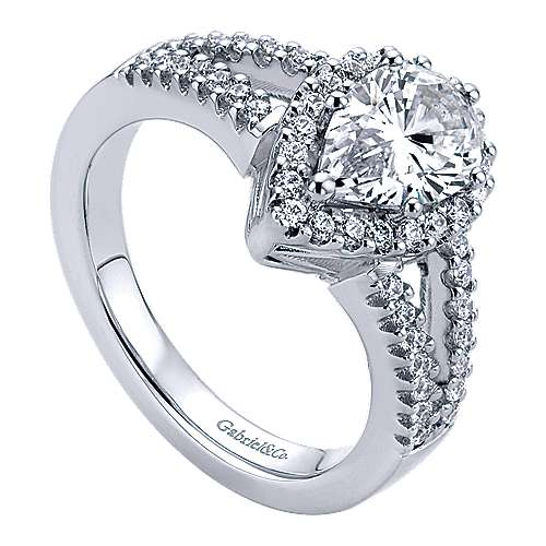 14k White Gold Pear Shape Halo Engagement Ring angle 3