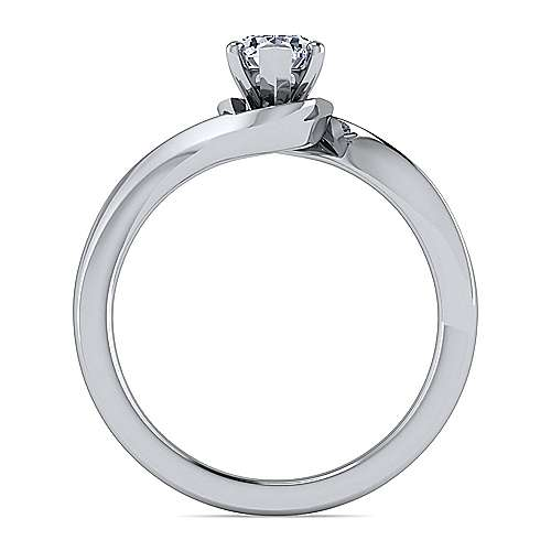 14k White Gold Pear Shape Solitaire Engagement Ring angle 2