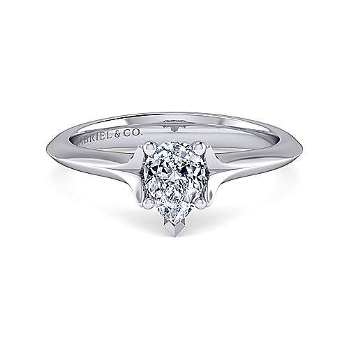 14k White Gold Pear Shape Solitaire Engagement Ring angle 1