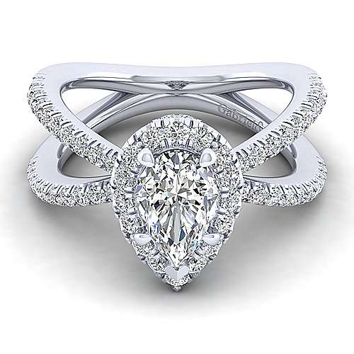 Gabriel - 14k White Gold Pear Shape Split Shank Engagement Ring