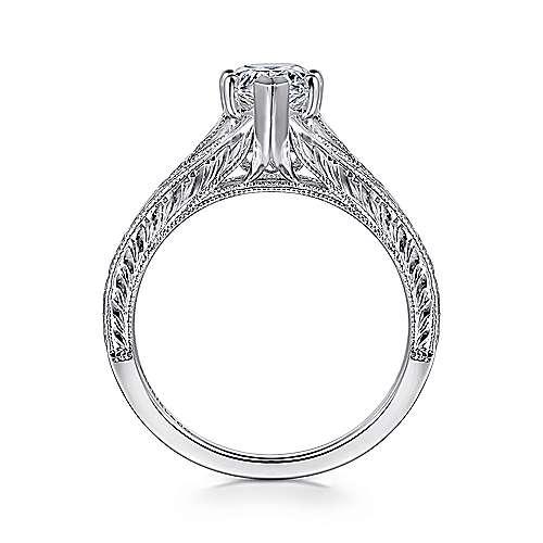 14k White Gold Pear Shape Split Shank Engagement Ring angle 2