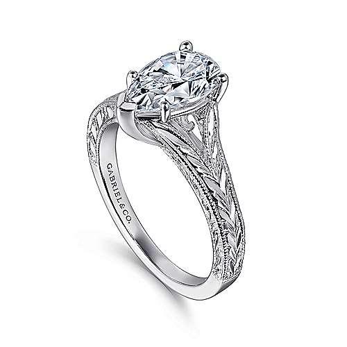14k White Gold Pear Shape Split Shank Engagement Ring angle 3
